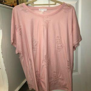 Socialite Pink Distressed Top